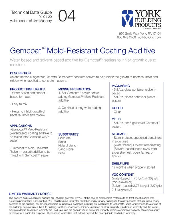 Gemcoat Mold-Resistant Technical Data Guide