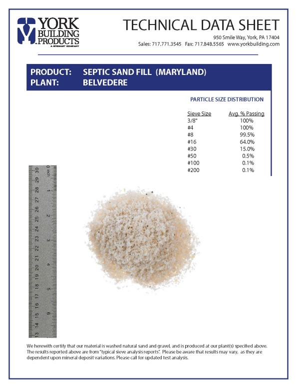 Septic Sand Fill- MD TDS
