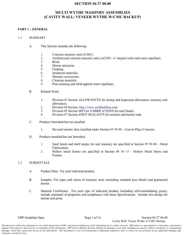 YBP Guideline Masonry Specification