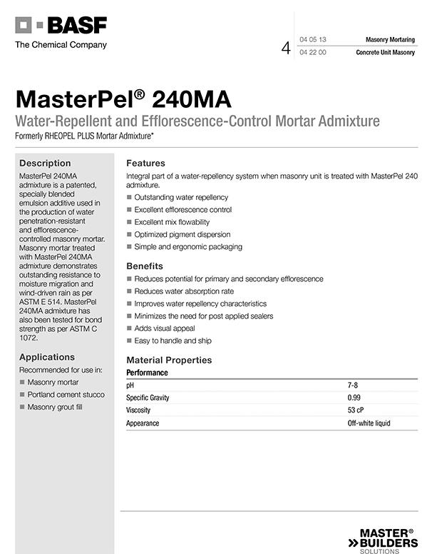 MasterPel® 240MA  TDS