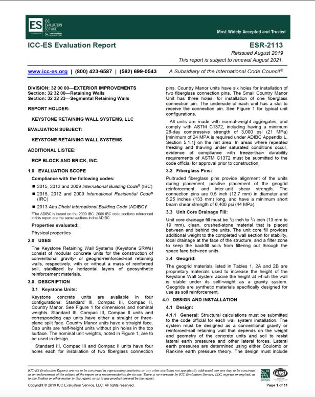 Cornerstone ICC-ES Evaluation Report
